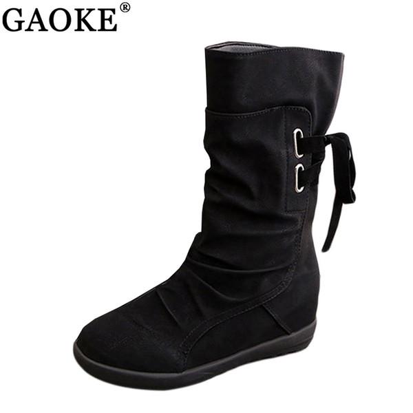 Frauen Winter Schnee Stiefel Mittlere Waden Feste Keile Damen Höhe Zunehmende Schuhe Casual Lederstiefel Frau Warme Botas Mujer