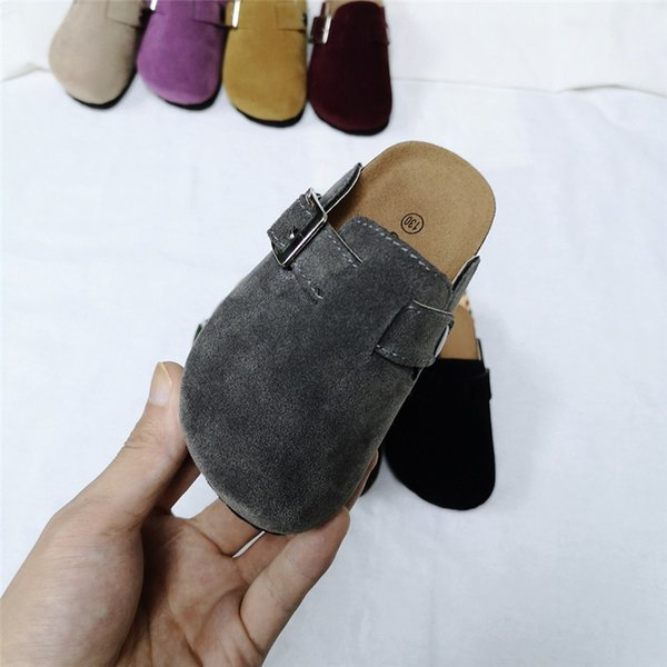 Spring Summer Kids Cork Sandals with Buckle Boys Girls Antiskid PU Slipper Children Home Outdoor Beach Casual Rome Shoes 10 Color New C41301