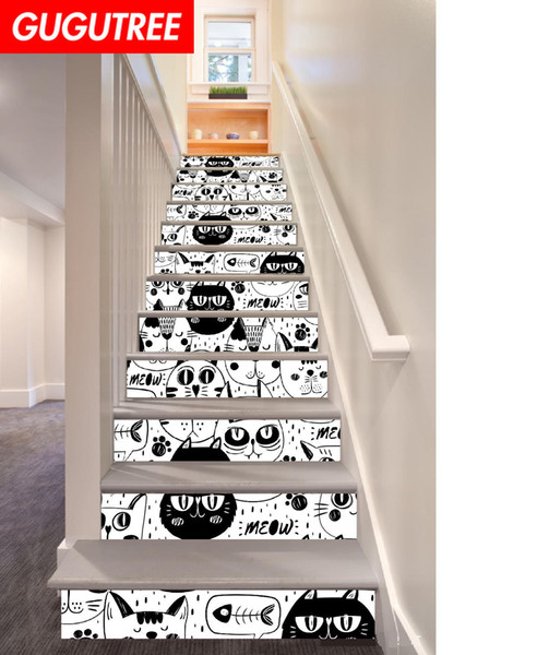 Decorate Home 3D cats animal cartoon art wall Stair sticker decoration Decals mural painting Removable Decor Wallpaper G-711