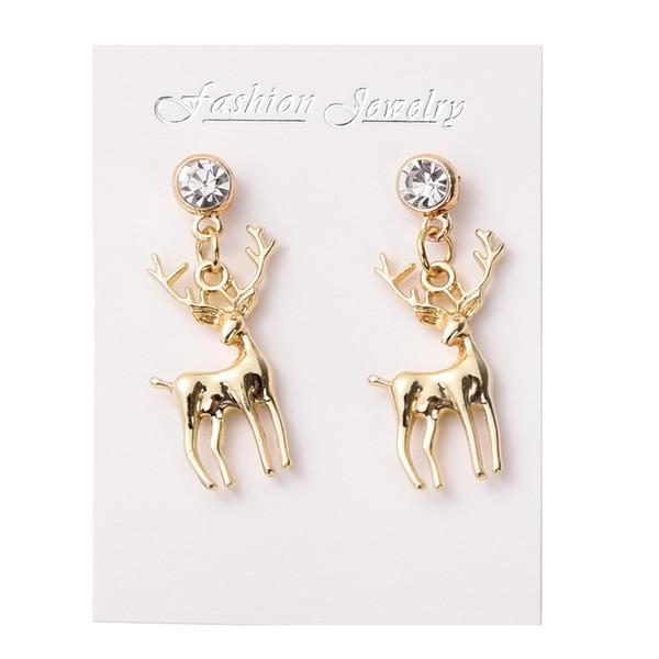 Fashion Golden Alloy Zircon Stud Earrings Antlers Deer Head Ear Hammer High Quality Wild Earrings For Women Gift