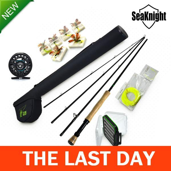 -SeaKnight China Cheap Fly Fishing Reel and rod Gear for Trout carp fish Pesca de Fly Send 12 pcs Artificial Flies and line Knots