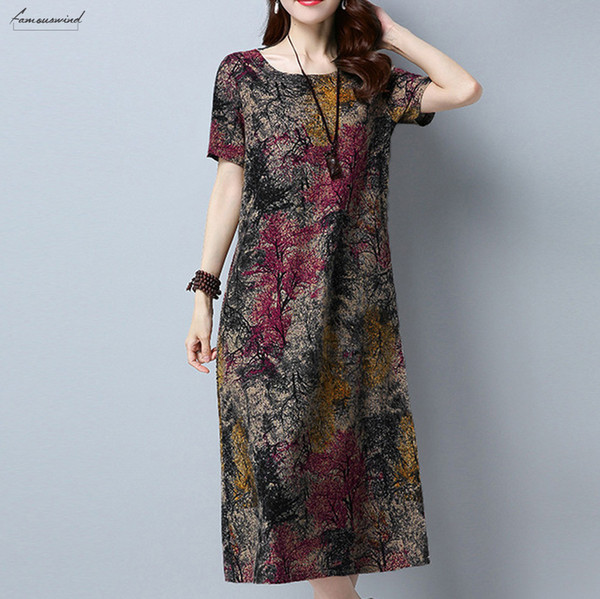 Women Summer Dress Plus Size Pencil Dresses Women Short Sleeve Linen  Dresses Casual Printed Mid Calf Dresses Py Designer Clothes Short White  Dresses ...