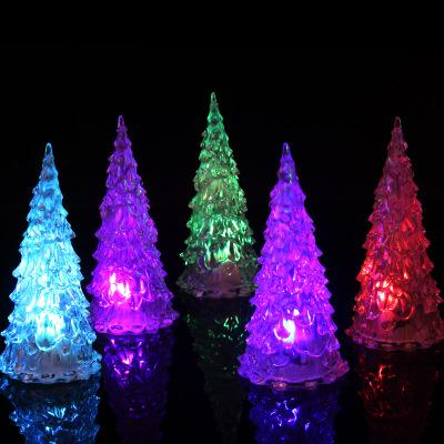 best selling MINI Christmas tree led lights Crystal clear colorful xmas trees Night Lights New Year Party kids Decoration Flash bed Lamp Ornament club
