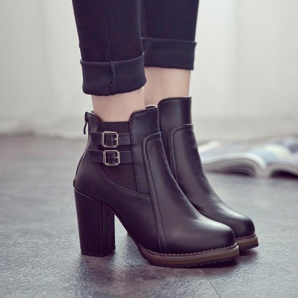 2018 otoño nuevas botas cortas zapatos de tacón alto