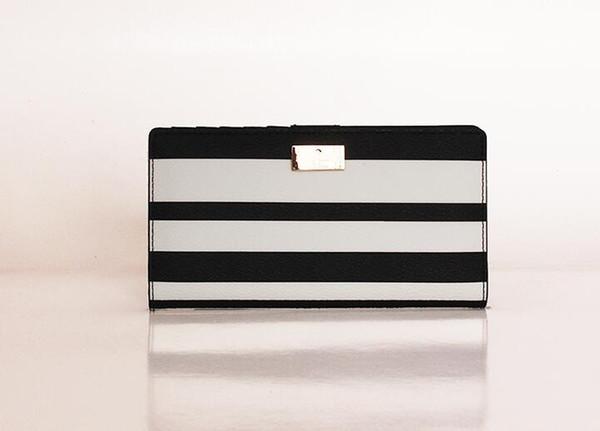 Klassische einfache gestreifte weibliche Handtasche lange Brieftasche Marke Design weibliche Handtasche Geldbörse Multi-Karte weibliche Handtasche
