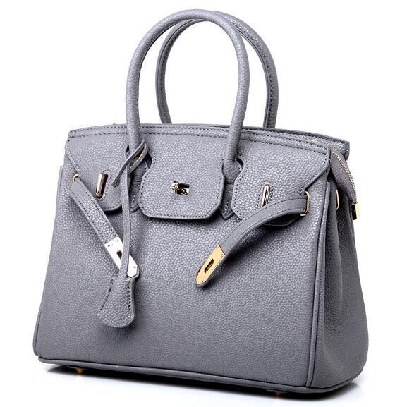 Autumn and Winter 2019 New Zipper Edition European and American Litchi-print Platinum Bag with Oblique Span Single Shoulder Handbag W1078