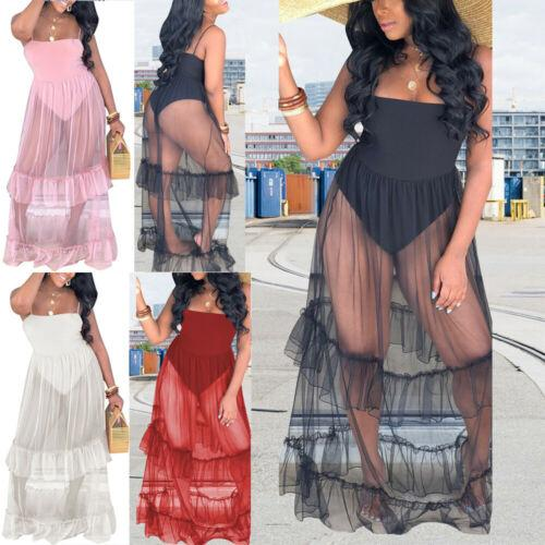 Women Cover up Mesh Sheer Spaghetti Strap Low cut Patchwork See through Cover-Ups Star Long Maxi Dress Summer Beach