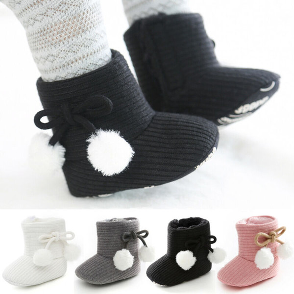 2019 Winter Warm Infant Baby Girl Boys Boots Shoes Solid Fashion Toddler First Walkers Kid Shoes