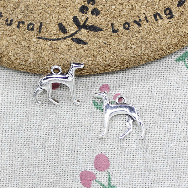 48pcs Charms dog grayhoud 20*20mm Tibetan Silver Vintage Pendants For Jewelry Making DIY Bracelet Necklace