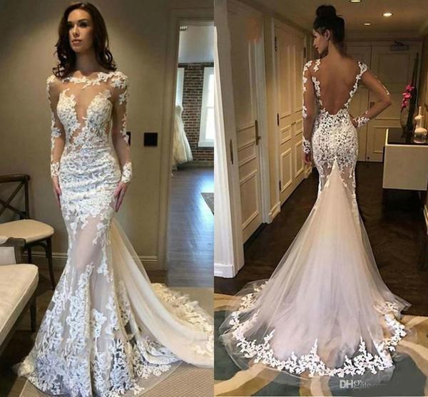 Mangas compridas Sereia Vestidos de Noiva Ilusão Corpete Tule Saia Vestido De Noiva Sem Encosto 3D Floral Lace Vestidos De Novia Plus Size