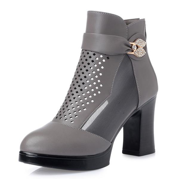 Vendita calda-2019 Genuine Leather molla nuovo Rhinestone Stivali Hollow Mesh Stivali donna traspirante antiscivolo Comfort caviglia donna