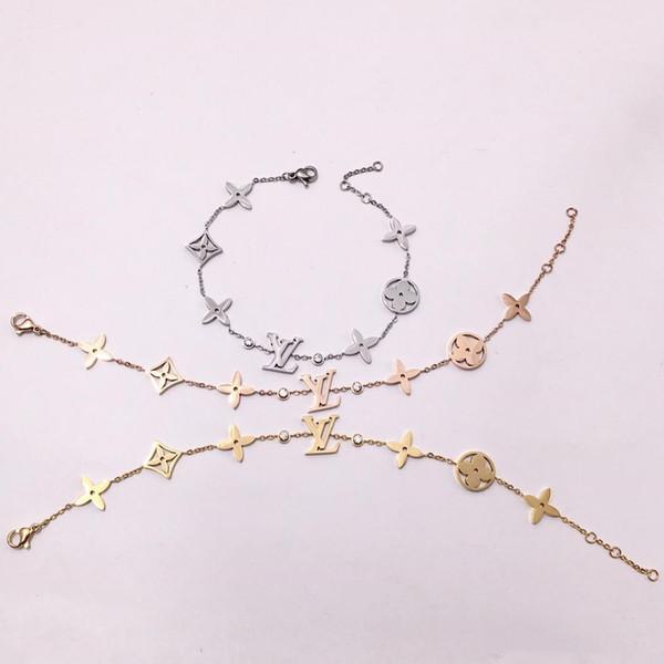 Bracciale in oro per donna Classico in acciaio al titanio placcato oro 18 carati con strass bracciali in argento