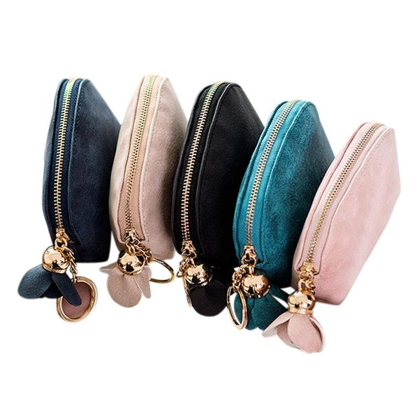 Women Concise Mini PU Leather Coin Purse Cute Portable Zippered Pocket with Flower Design Wallet Change Holder