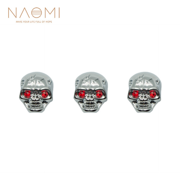 NAOMI Metal Skull Head Control Knobs For Electric Guitar Pots Tone Volume Control Knobs/Buttons High Quality New