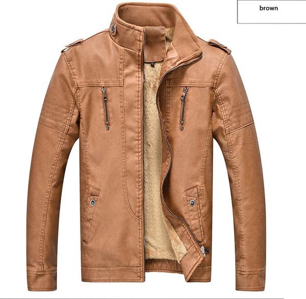 Erkek deri retro yıkanmış PU artı kadife moda deri giyim erkek deri ceket marka motosiklet ceketler