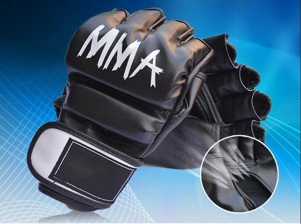 Pu Leather Mma Muay Thai Training Gloves Sanda Mitts Sandbag Punching Sparring Boxing Gloves Half Finger Hand Gear