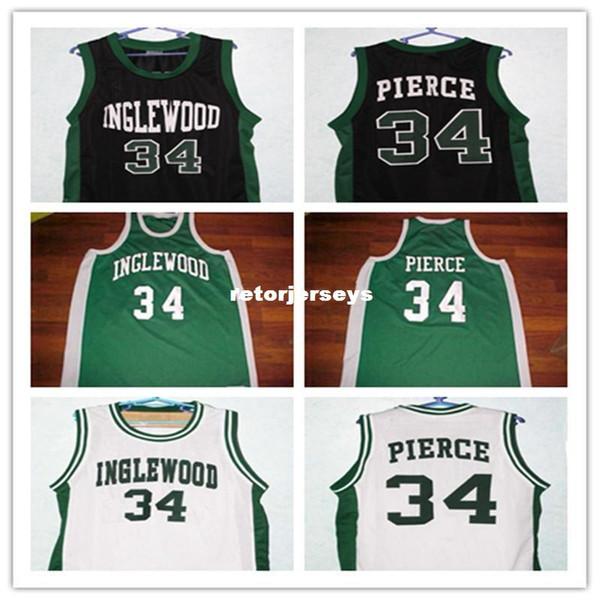 Ucuz Paul Pierce # 34 Inglewood Lisesi Retro Gerileme Basketbol Forması herhangi bir boyut numarası ve oyuncu adı Özelleştirmek