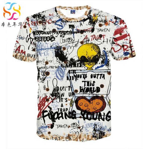 Satin Al Hip Hop Graffiti Erkek Tshirt En Kisa Kollu El Boya O