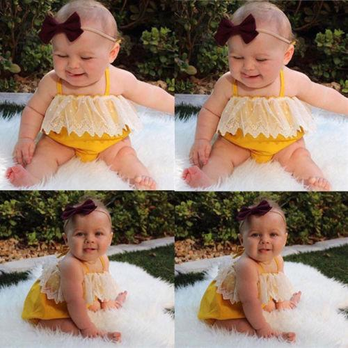 2018 Yeni Sevimli Bebek Kız Sarı Dantel Bodysuits sapanlar Tulum Bebek Casual Tek Parçalar tulum Kıyafet Yaz Giyim