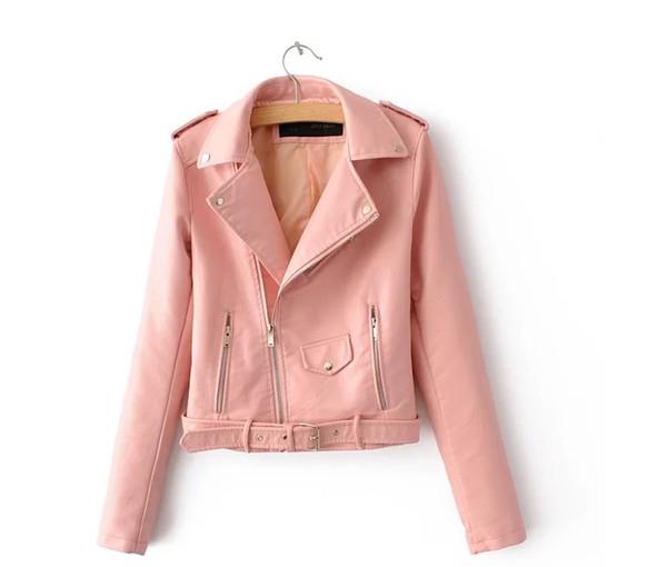 Г-жа горячий стиль отворот пояса пятицветная кожаная одежда стройное тело мода PU пальто 0360
