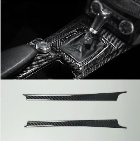 Centre de fibre de carbone Console Gear Shift 2Pcs Pour bandes garniture Mercedes Benz Classe C W204 2007-2013 Voiture intérieur Accessoires