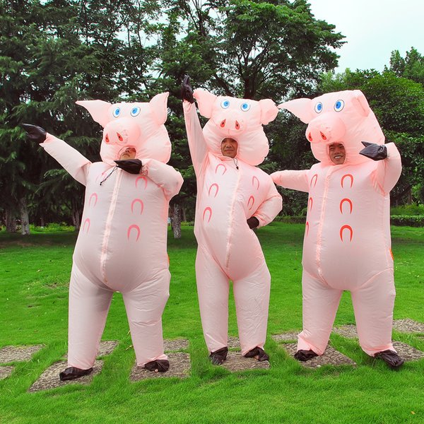 best selling Halloween Inflatable Costume Suit Pink Pig mascot Pigs Blow Up Animal Farm Fancy Dress Costume WSJ-14