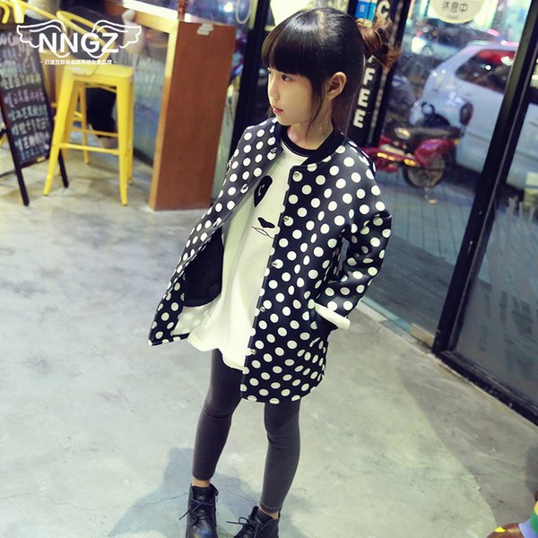 Autumn And Winter 2019 Children's Clothing Space Cotton Girls Long-sleeve Outerwear Polka Dot Child Casual Jacket