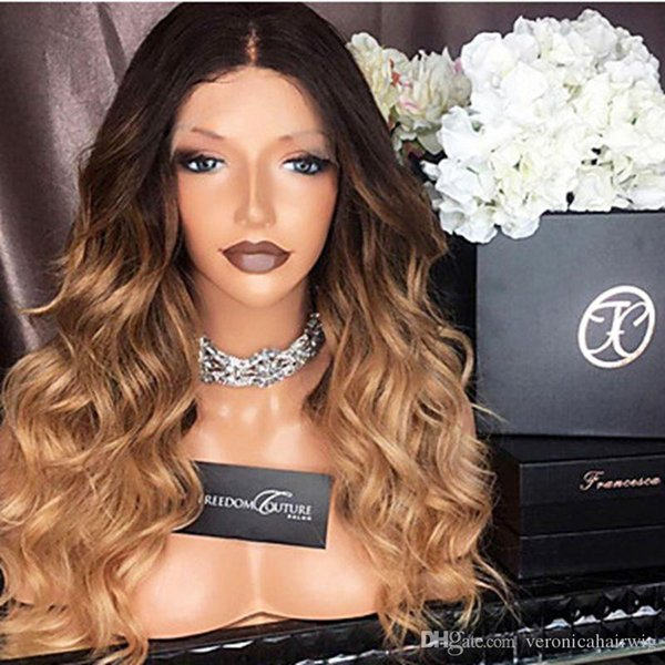 Top Quality Sexy Ombre Wigs 1B/27# Short Bob Curly Wavy Lace Front Wig Heat Resistant Synthetic Lace Front Wigs for Black Women