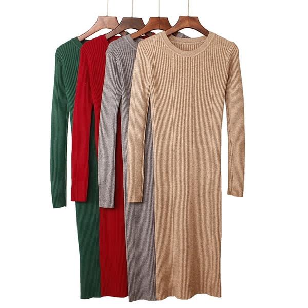 Gigogou Thick Warm Women Winter Dress Long Slim Rib Knitted Dress Autumn O-neck Mid-calf Femme Sweater Dresses Y190425