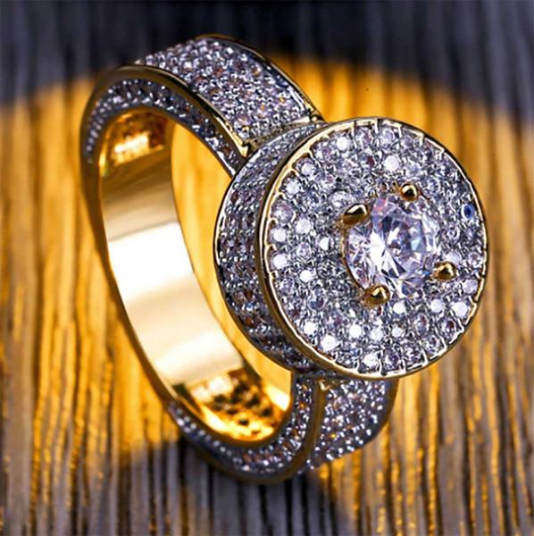 Personalizado Cluster de Ouro Anel CZ Micro Pavimentar Cubic Zirconia Simulado Diamantes Hip hop Casos de Luxo Mens anéis de Ouro