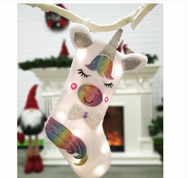 Kolye Çorap Noel 920X20 Asma Çocuklar Noel Hediyesi Çanta Şeker Çanta Xmas ağacı Süsleme için BEW Büyük Unicorn Noel Çorap