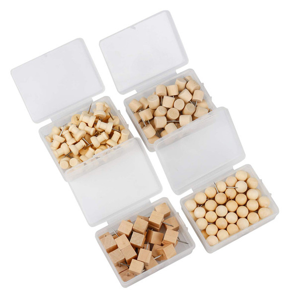 top popular 170 PCS lot Natural Wood Push Pins Decorative Thumb Tacks Used on Cork Boards or Maps 2021