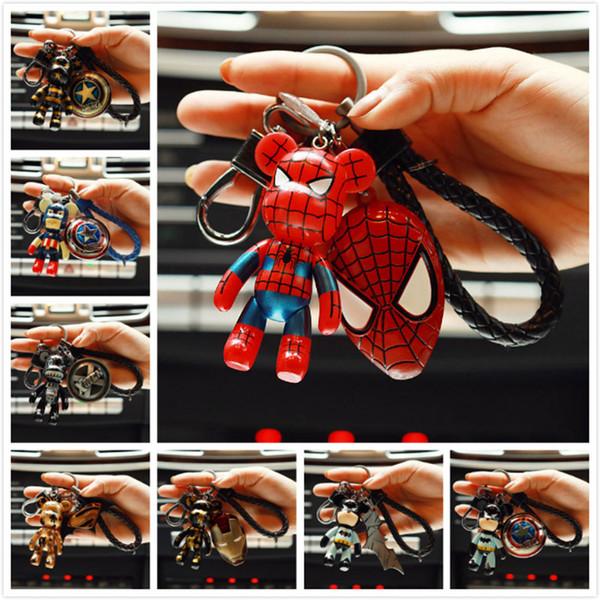 Marvel Avenger Action Figure PVC Keychain Super Hero Spider Man Batman Captain Key Ring Anime Key Chain Fashion Accessories Packed Kawaii Ba