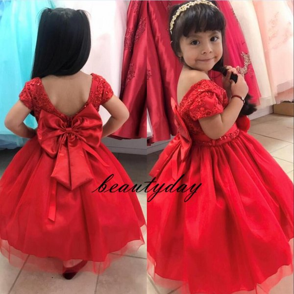 Red sposa ragazze di fiore abiti Tutu 2020 Toddler Little Girls Pageant Comunione Dress grande arco di Tulle a maniche corte a buon mercato su ordine