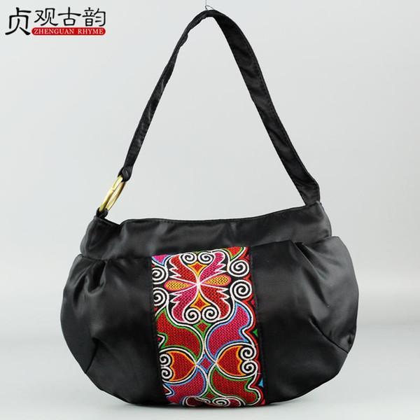 NoEnName Nice Summer New Ethnic Flowers Embroidery Canvas Shoulder Bag Casual Women Handbag Female National Style Handbags