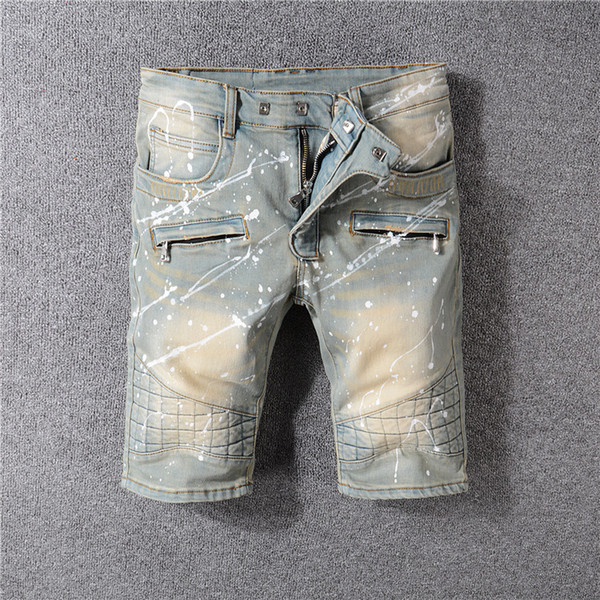 New Italian style men's distressed openwork pants white mix and match denim skinny jeans slim shorts 28-40 1813