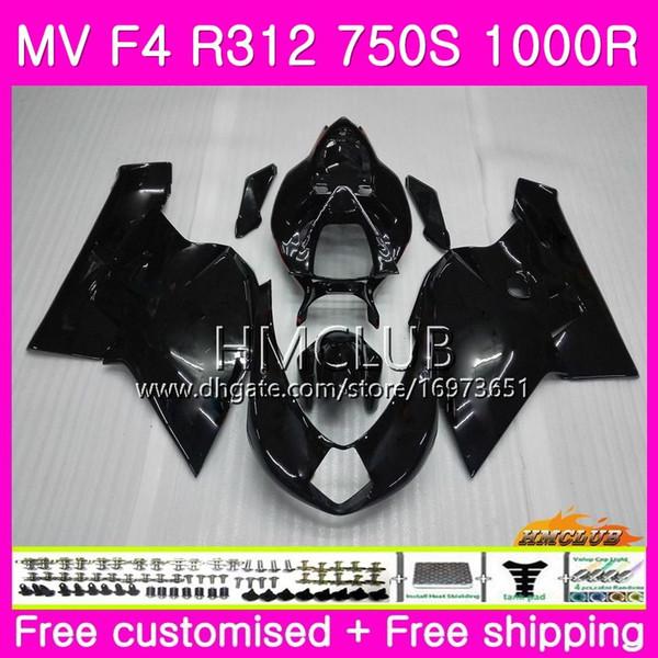 Corpo Para MV Agusta F4 MV-F4 R312 750 S 1000 R 750 1000CC 05 06 Kit Preto Brilhante 27HM.5 1000R 312 1078 1 + 1 MA MV F4 2005 2006 05 06 Carenagem