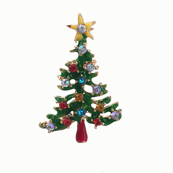 European and American Christmas gift accessories pin Exquisite wild drop glaze diamond Christmas tree brooch