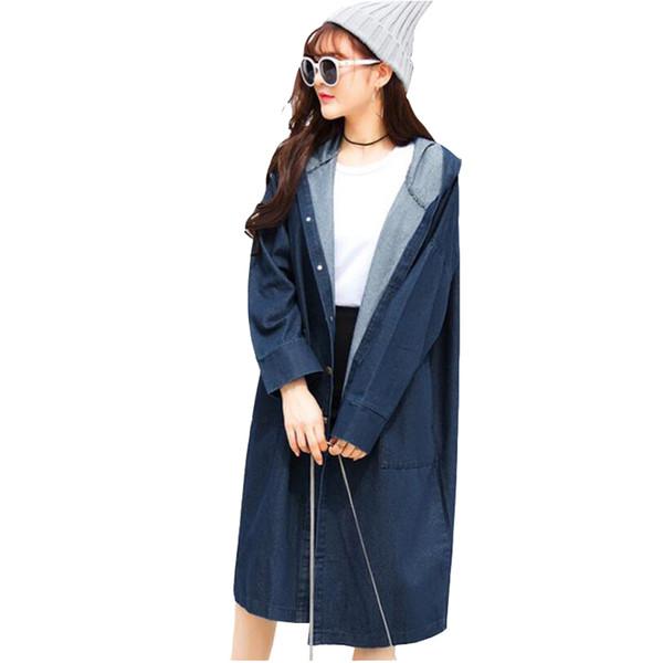 fashion spring coats 2019 women Casual Denim trench coat elegant Loose Large size female coat women long coats tops