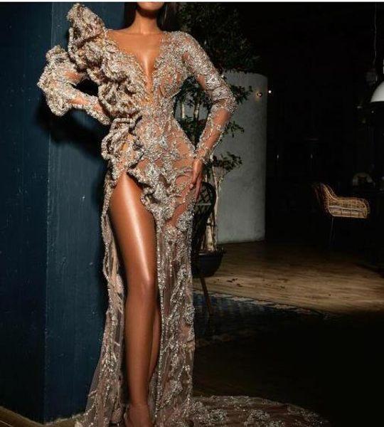 Evening dress Yousef aljasmi Labourjoisie Bodycon Hollow V-neck Lace Split Free shipping Elie saab Zuhair murad Kim kardashian