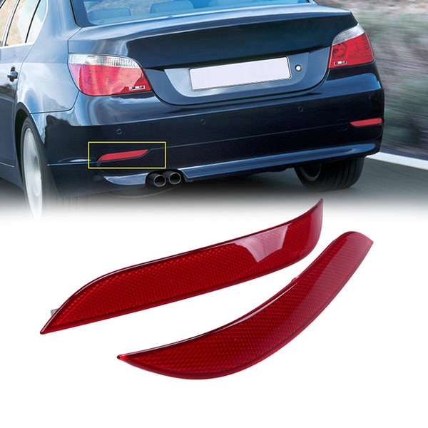 Red Lens Left&Right Side Rear Bumper Reflector Warning Light Strip Sticker For 5 Series E60 Sedan 2003-2007 Pre-facelift