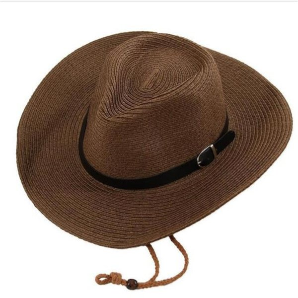 Straw Braid Men Cowboy Hats with Buckle Western American Mens Hat Lady Beach Hats Solid Khaki 2019032508