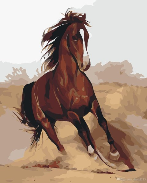 Horses Gallop Vintage 16x20 inches DIY Paint On Canvas drawing By Numbers Kits Art Acrylic Oil Painting Frame For Adult Teen