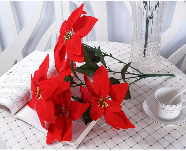50cm High Christmas Artificial Simulation Silk Poinsettia Red Silk Decorative Christmas Flowers Home Xmas Party Christmas Supplies