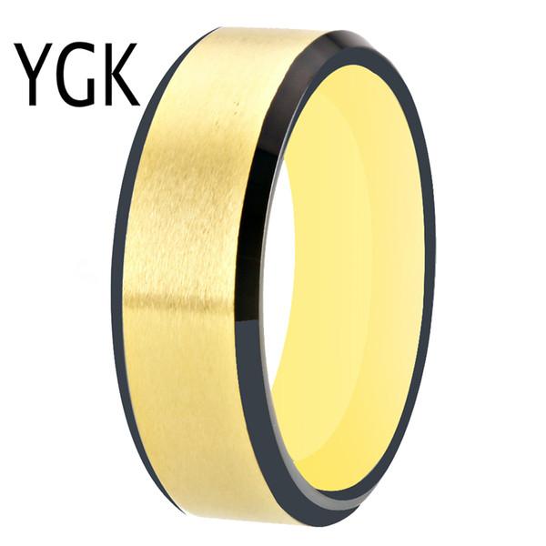 Schwarz Gold Farbe Wolfram Ring Männer Hartmetall Hochzeit Band Verlobungsringe Benutzerdefinierte Gravur Jahrestag Schmuck Matt Finish Ring