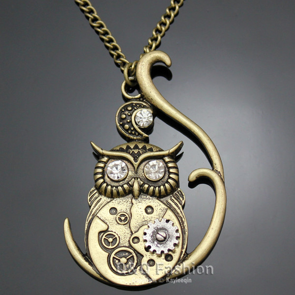 Victorian Athena Owl Hedwig Moon Watch Clock Hand Gear Cog Steampunk Necklace Jewelry New necklaces pendants animal Sweater