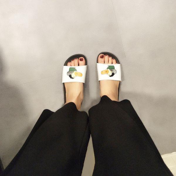 Moda Lüks Tasarımcı Kadın Ayakkabı Kişilik Baskı Yaz Kore Versiyonu Moda Düz Alt Tırtıklı Terlik Beyaz Boyutu 36-41