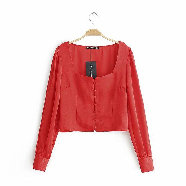 LTD1199017 2019 New Solid Blouses Women Short Shirts Long Sleeves Waist Side Zipper Female Square Collar Empire Retro Vestidos