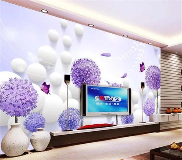 Custom Any Size 3d Wallpaper Dandelion 3D Ball Indoor TV Background Wall Decoration Mural Wallpaper
