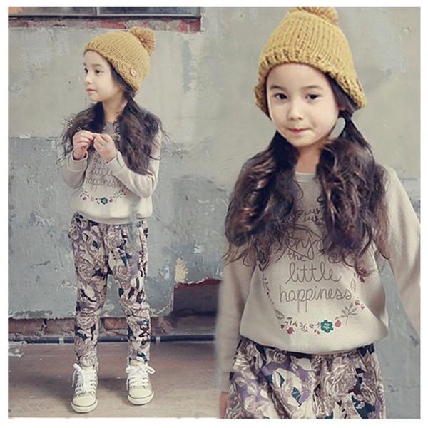 Set di abbigliamento per ragazze adolescenti in autunno Abbigliamento per bambini in autunno Abbigliamento sportivo T-shirt a maniche lunghe con 2 pezzi